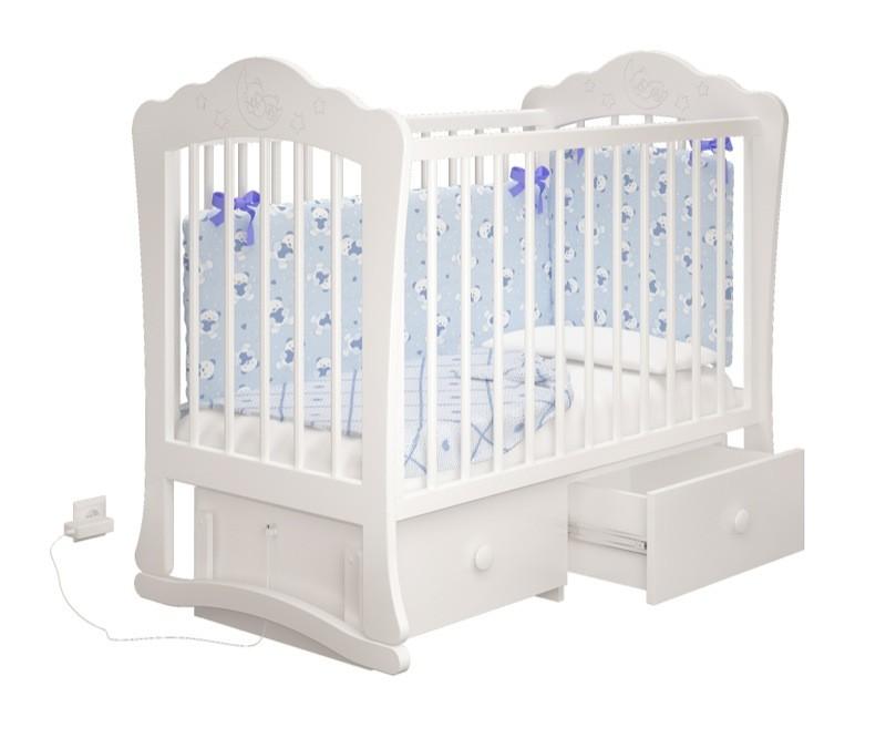 Купить детскую кроватку Amalia - Амалия для Новорожденного на маятнике с ящиком в СПб в интернет магазине Piccolo в белом цвете
