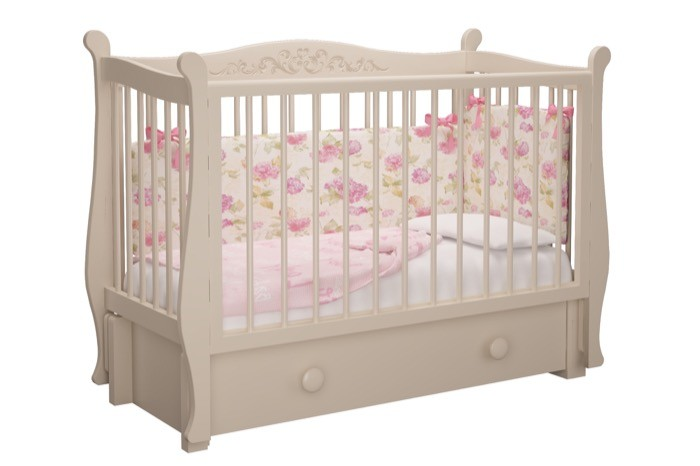"""""""Julia"""" Classic, кровать детская с продольным маятником и 1 ящ., слоновая кость МЛК"""