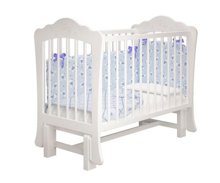 Купить белую детскую кроватку Amalia - Амалия для Новорожденного на маятнике без ящика в СПб в интернет магазине Piccolo