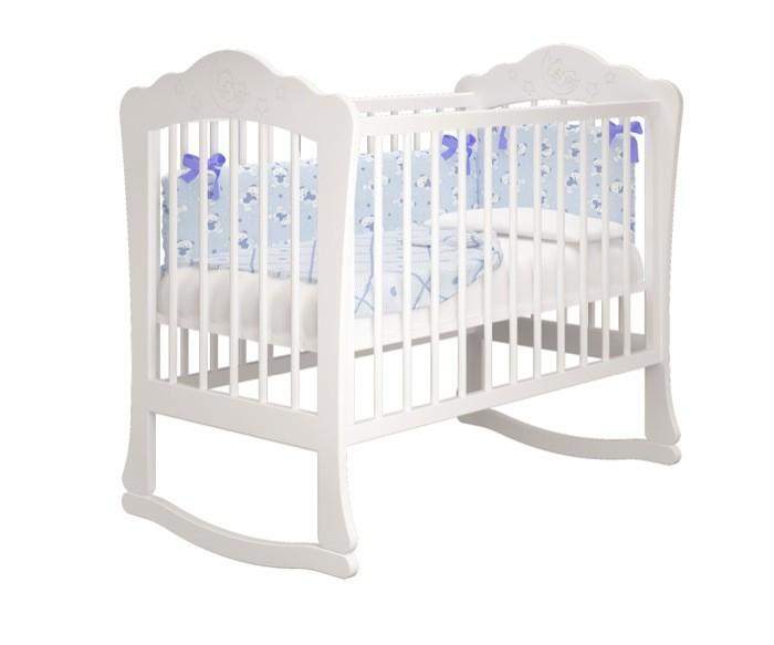 Купить белую детскую кроватку Amalia - Амалия для Новорожденного на дуге качалке СПб в интернет магазине Piccolo