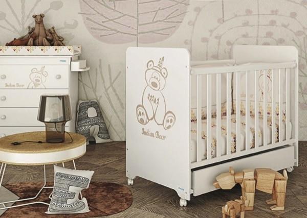 """Детская испанская кроватка для Новорожденных """" Микуна - Micuna Indian"""" в белом цвете, на колесах, с ящиком, купить в СПб в интернет магазине для малышей Piccolo - detki (Пикколо-детки) на Фокина 1."""